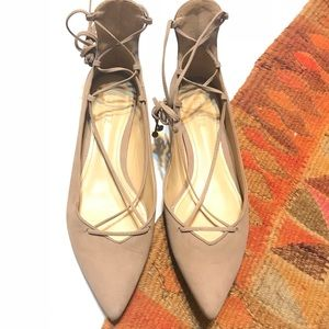 """Schutz Leather """"Neida"""" Lace Up D'orsay Flats"""